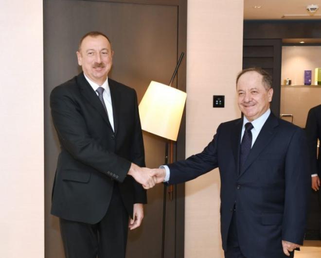 İlham Əliyev Bərzani ilə görüşdü - Foto