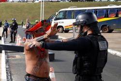 Brazilian tribes protest with arrow and spear -