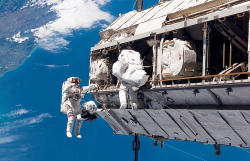 US astronauts prepare for spacewalk outside ISS