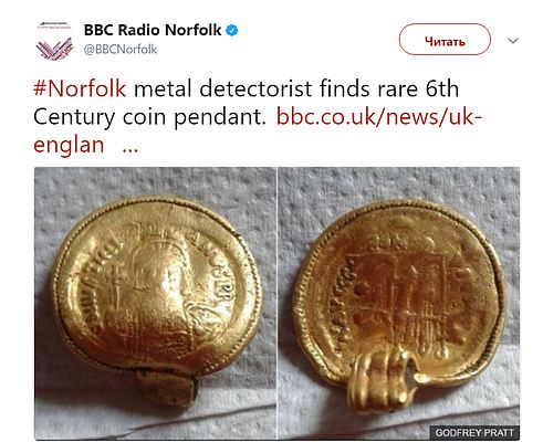 В Британии коллекционер нашел золотую подвеску VI в
