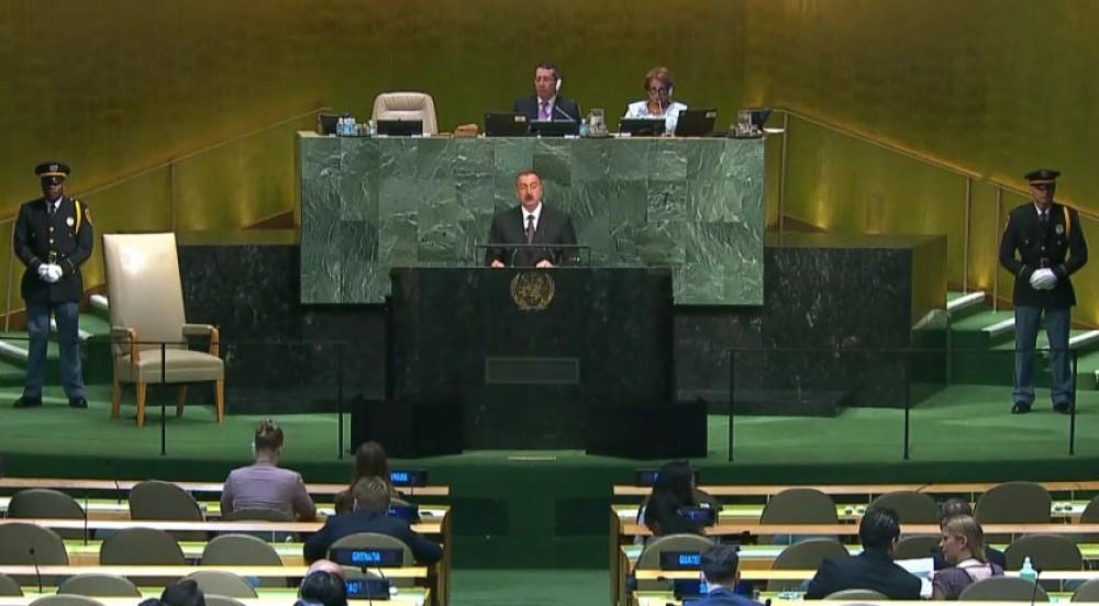 President Ilham Aliyev calls Armenia 'occupier' at UN