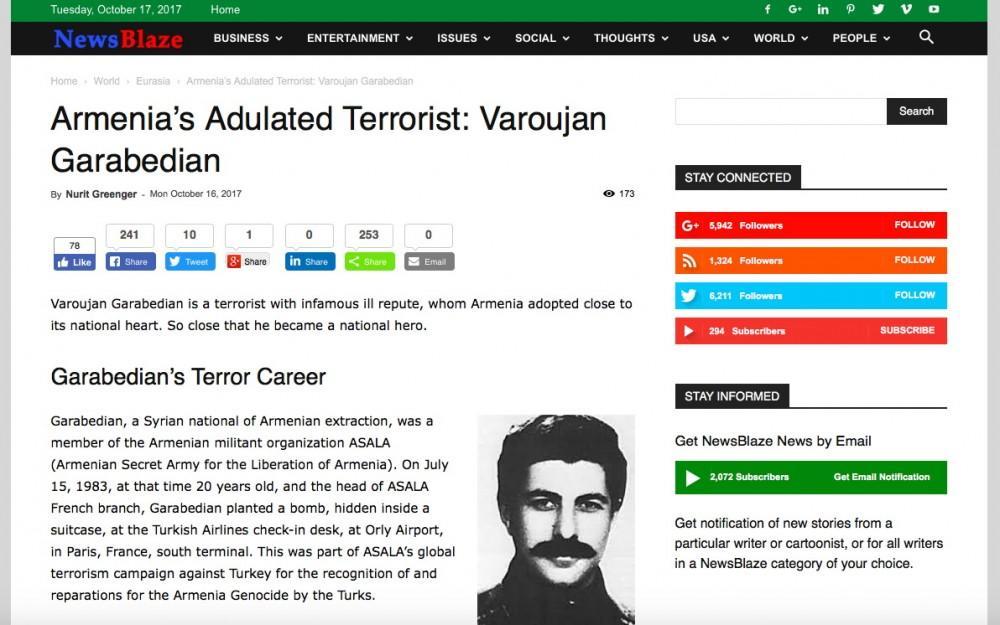 ABŞ nəşri erməni terrorçularından yazdı