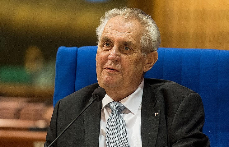 The Czech president will walk in a wheelchair