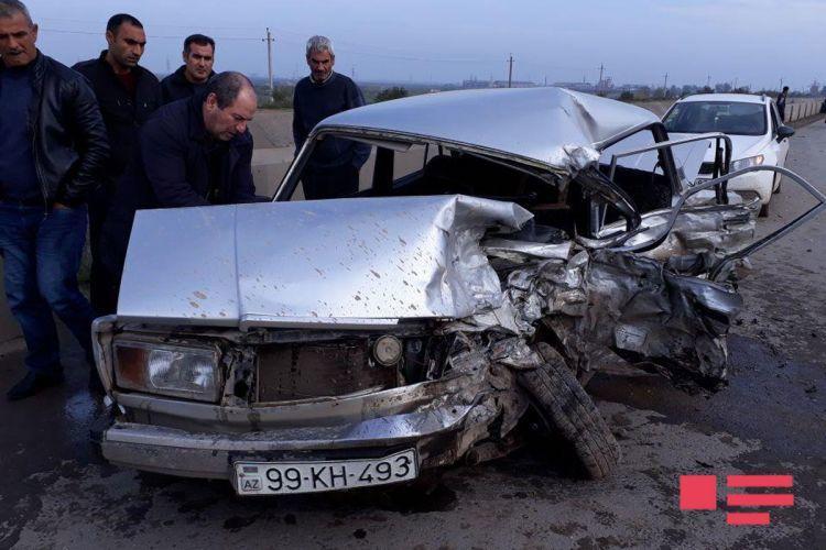 İmişlidə ağır qəza: 1 ölü, 2 yaralı - Foto