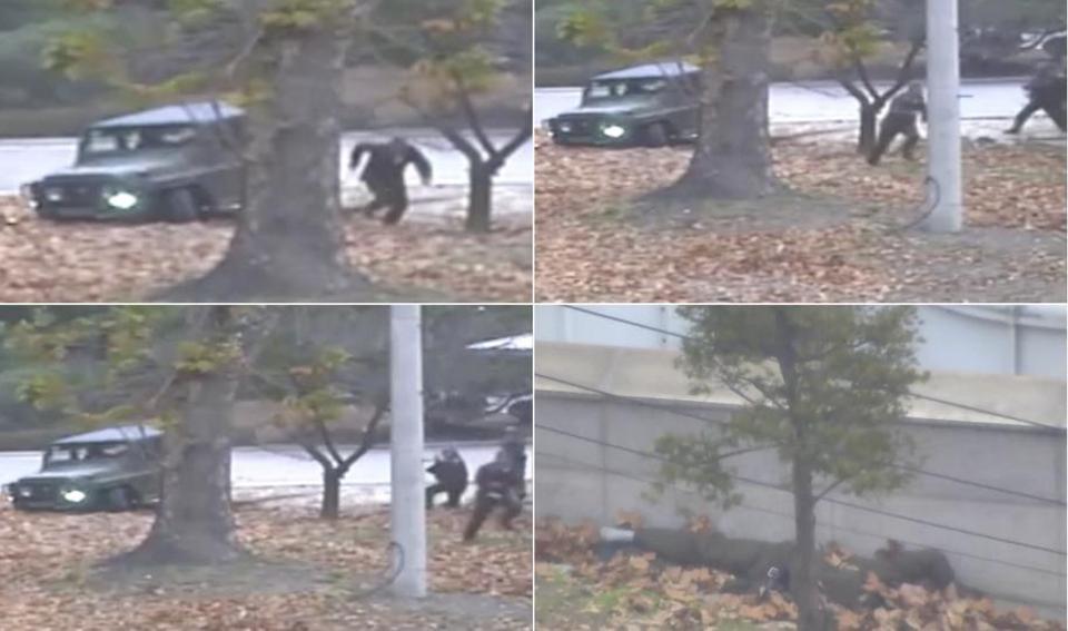 Şimali Koreyadan qaçan əsgərin vurulma anı – Video