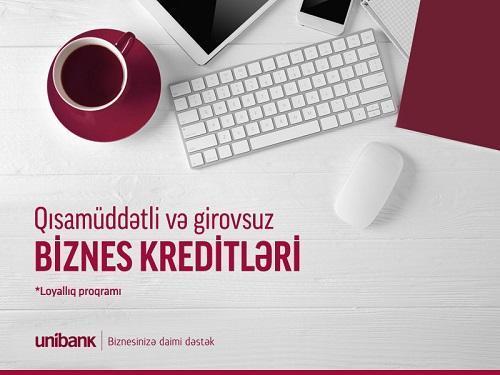 """""""Unibank""""dan biznes sahiblərinə girovsuz kredit təklifi"""