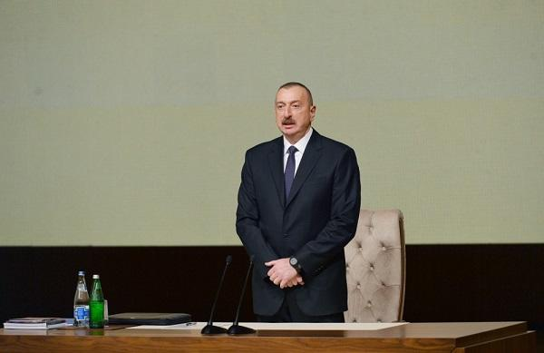 Ilham Aliyev is addressing at the conference -