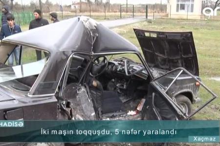 5 nəfərin düşdüyü qəzanın dəhşətli - Videosu