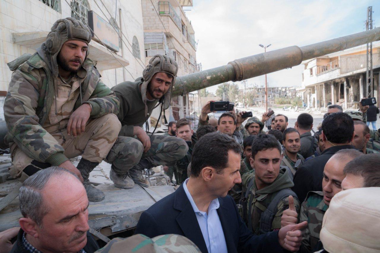 Башар Асад прибыл на передовую в Восточной Гуте