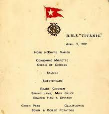 """Меню первого обеда на """"Титанике"""" ушло за $140 тысяч"""