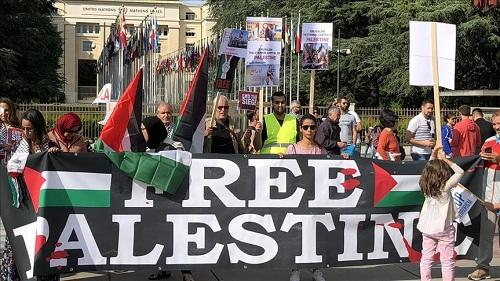 Demonstration to support Palestinians held outside UN