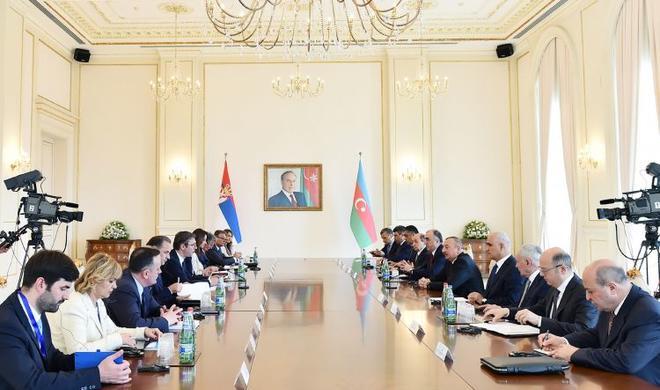 Azerbaijani, Serbian presidents make press statements -
