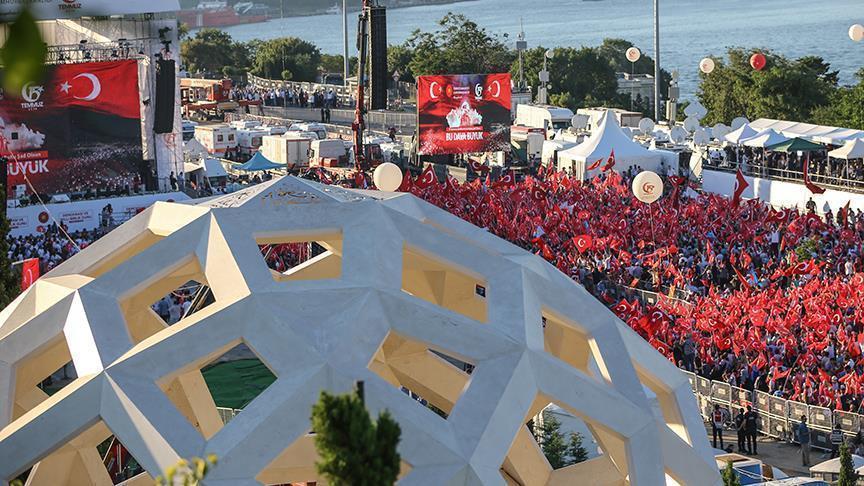 Граждане Турции стекаются к мосту «Павшим 15 июля» - Видео