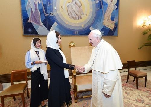 Mehriban Əliyeva Roma Papası ilə görüşdü - Foto