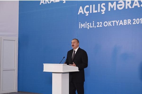 Ильхам Алиев на открытиях в Имишли - Обновлено
