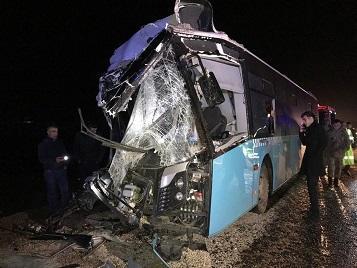 Hacıqabulda sərnişin avtobusu qəza törətdi