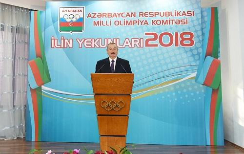 Ilham Aliyev has attended a ceremony dedicated to the 2018 sports results
