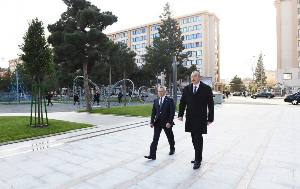 İlham Əliyev yeni mərkəzin açılışında - Foto