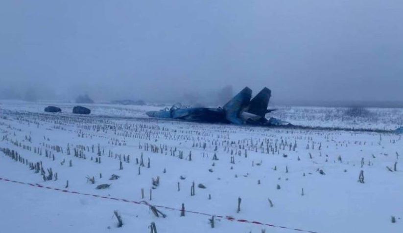 Появились фото упавшего на Украине Су-27