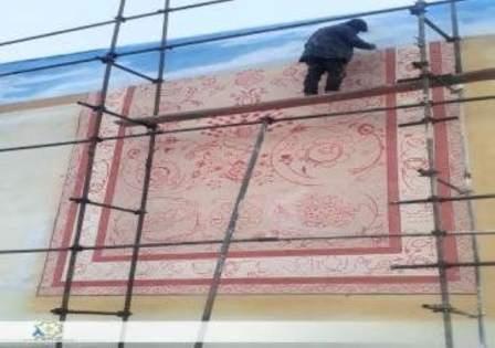 طرح  فرش تبریزبر دیوارهای منطقه فرهنگی