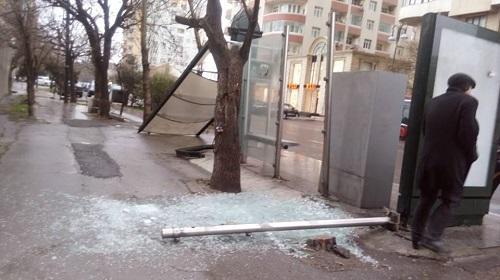 Bakıda güclü küləyin fəsadları: TIR-ı aşırdı... - Foto