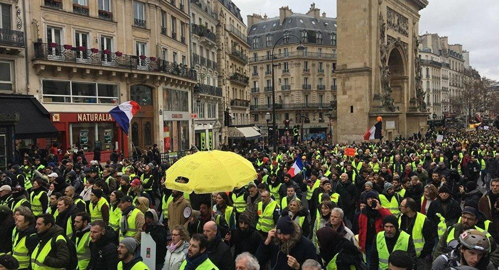 Yellow Vests protesters gather for a rally -