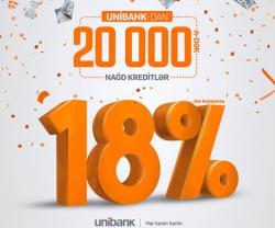 """""""Unibank"""" 18%-dən başlayan kredit təklif edir"""
