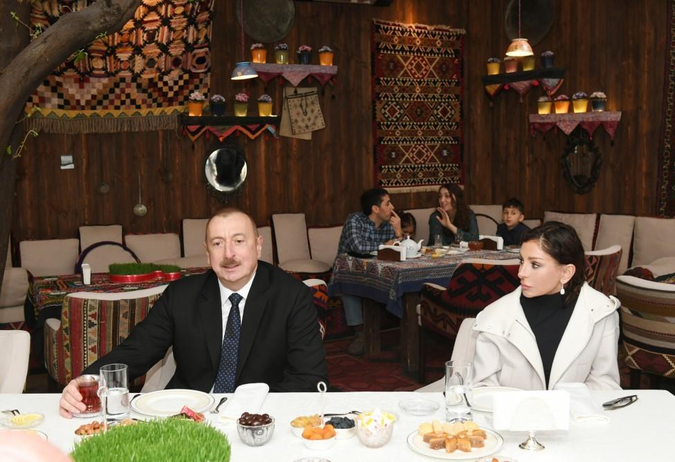 Ilham Aliyev is on a tea party with the residents