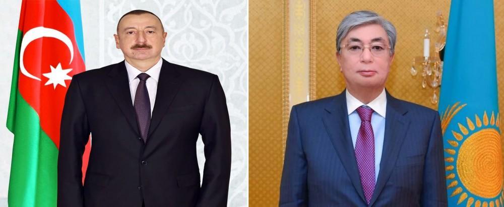 President Ilham Aliyev congratulates Kazakh counterpart