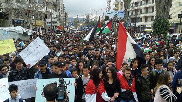 В Сирии проходят акции протеста против решения США