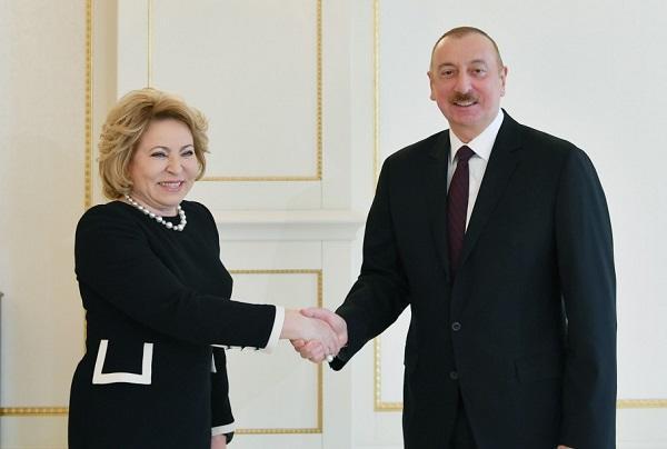 İlham Əliyev Matviyenko ilə görüşdü