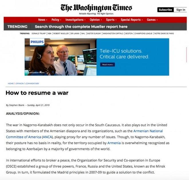 Washington Times о подрывной деятельности армянского лобби
