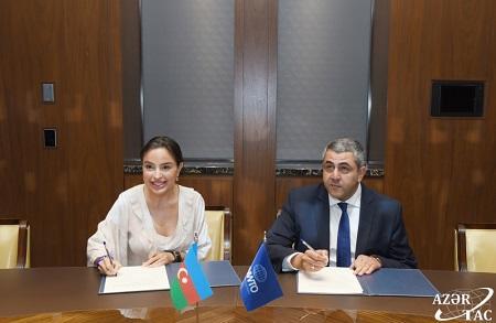 Leyla Əliyeva ÜTT ilə anlaşma memorandumu imzaladı - Foto