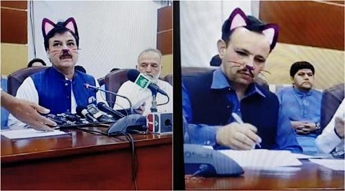 Pakistan govt accidentally turns 'cat' filter on during FB Live