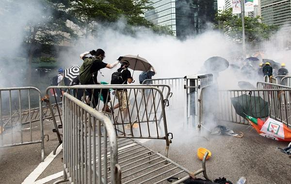 Petrol bombs tossed at police in HK clashes