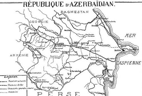 Paris Sülh Konfransında qəbul edilən Azərbaycan xəritəsi - Foto
