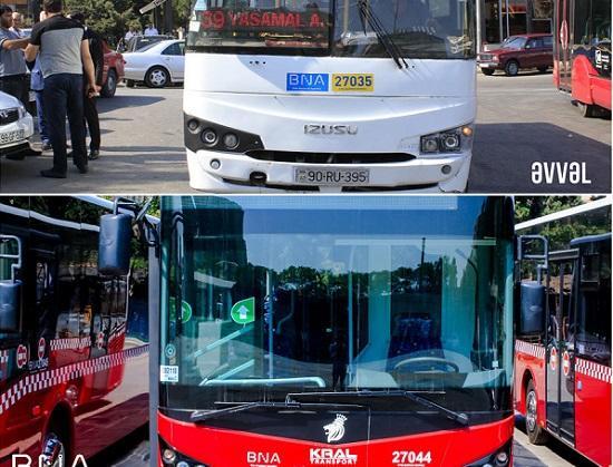 Bu marşrutun avtobusları yeniləndi - Foto