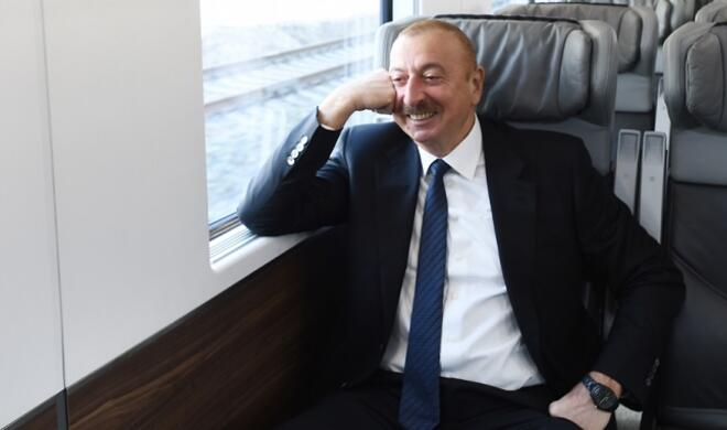 Ilham Aliyev traveled by train to Pirshagi -
