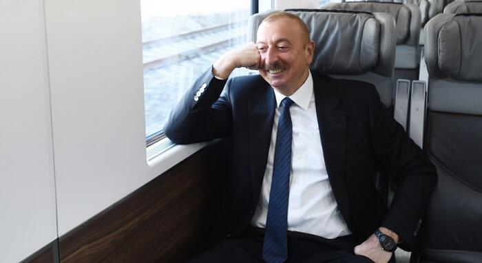 Ilham Aliyev traveled by train to Pirshagi -