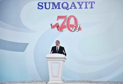 Ilham Aliyev at the event of 70th anniversary of Sumgait -