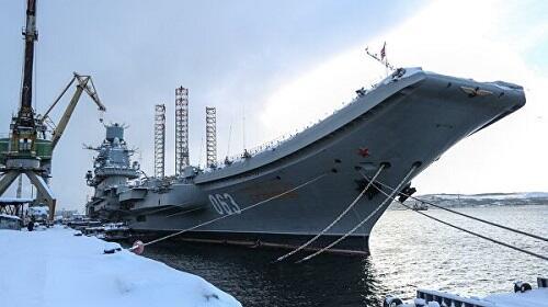 В Мурманске горит российский авианосец - Видео