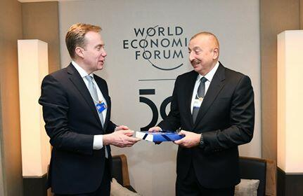 Unique gift from president of the forum to Ilham Aliyev -
