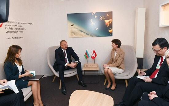 Azerbaijani and Swiss Presidents meet in Davos