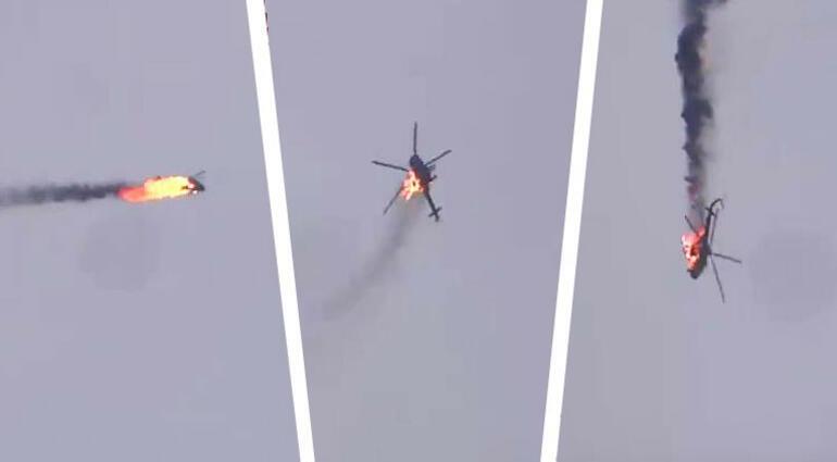 Helikopter havada partlayıb gölə düşdü - Video