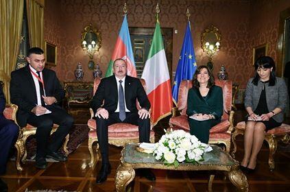 Ильхам Алиев встретился с председателем Сената Италии