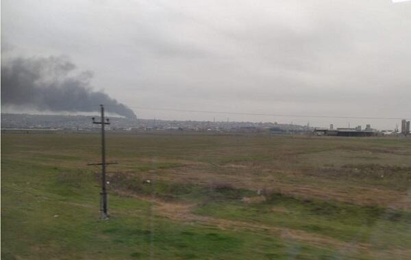Сильный пожар в Абшеронском районе
