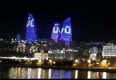 Alov Qüllələrində Prezidentin şüarları əks olundu - Video