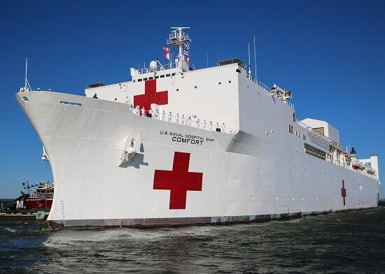 Корабль-госпиталь прибыл в Нью-Йорк