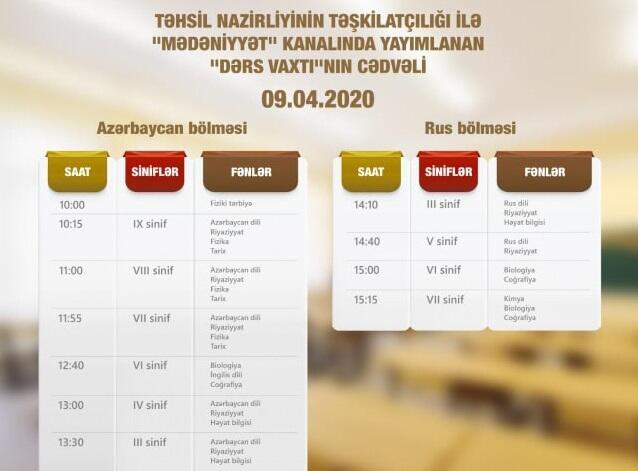 Aprelin 9-na olan teledərslərin cədvəli - Foto