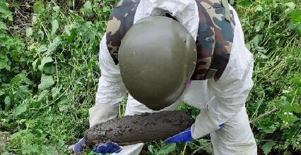 Ermənilərin atdığı ehtimal edilən top mərmisi tapıldı